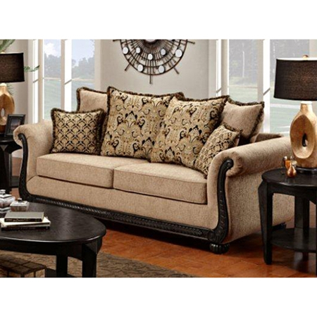 Lily rolled arm sofa pumpkin feet delray taupe fabric dcg stores - Sofa loft taupe ...
