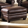 Lamesa Traditional Leather Ottoman - Nail Heads, Stampede Coffee - CHF-62H025-06