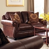 San Angelo Leather Loveseat - Nail Heads, Bun Feet, Bolero Cohiba - CHF-62H044-20