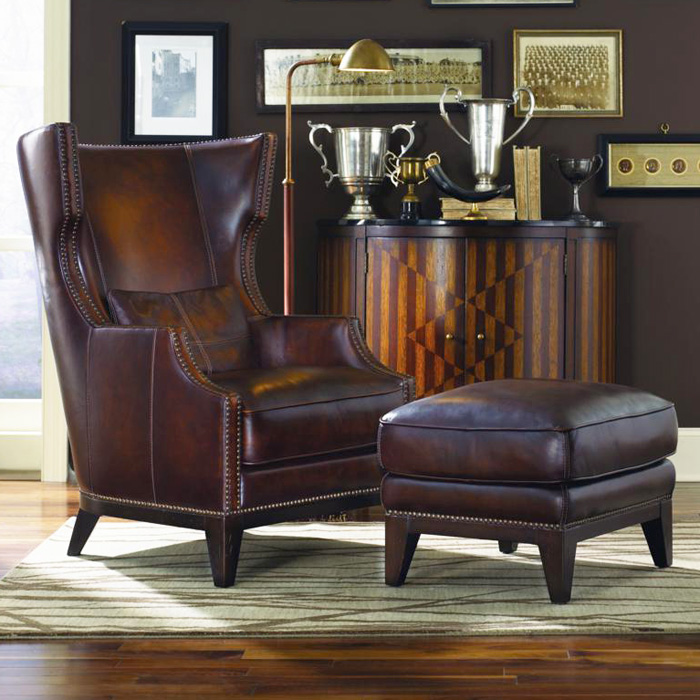 Fort Stockton Leather Accent Chair Ottoman Hillsboro Prairie Meadows Dcg Stores