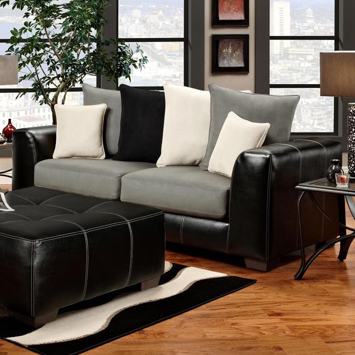 Laredo Sofa And Loveseat: Contrast Stitching, Laredo Black