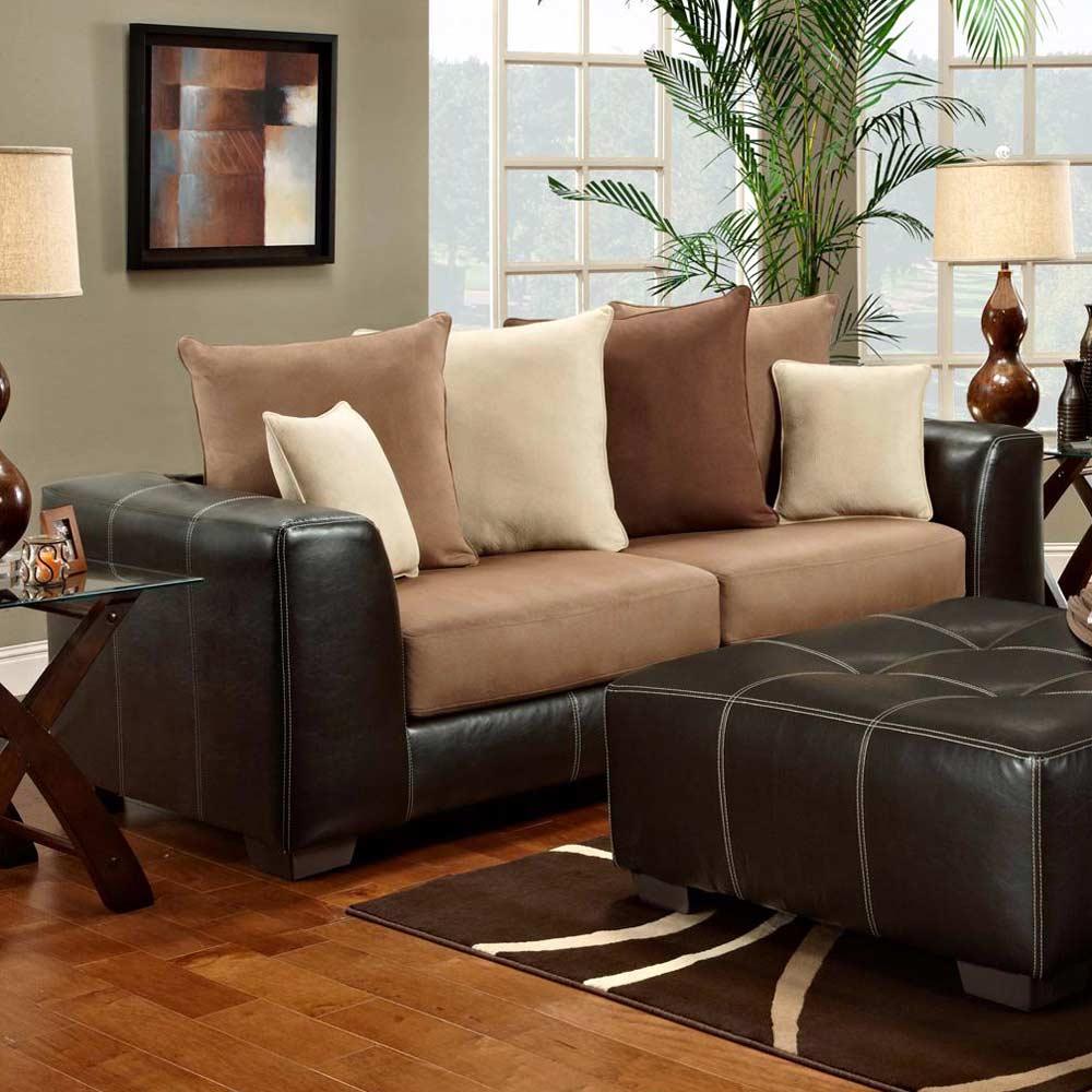 Laredo Sofa And Loveseat: Contrast Stitching, Laredo Mocha
