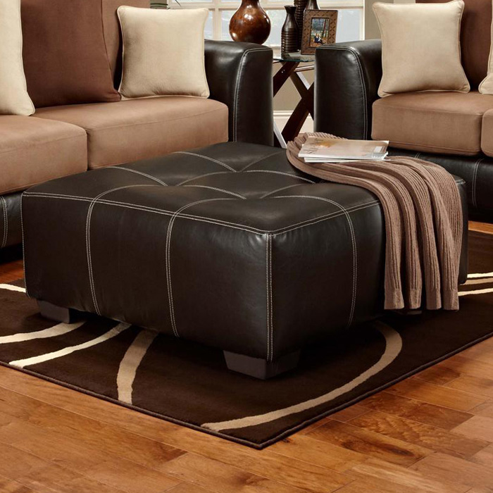 Landon Square Tufted Ottoman Brandon Brown Upholstery Dcg Stores