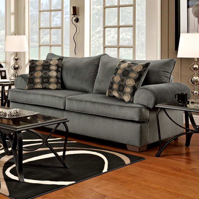 Wyatt round arm sofa marshall steel fabric dcg stores for T furniture okolona ms