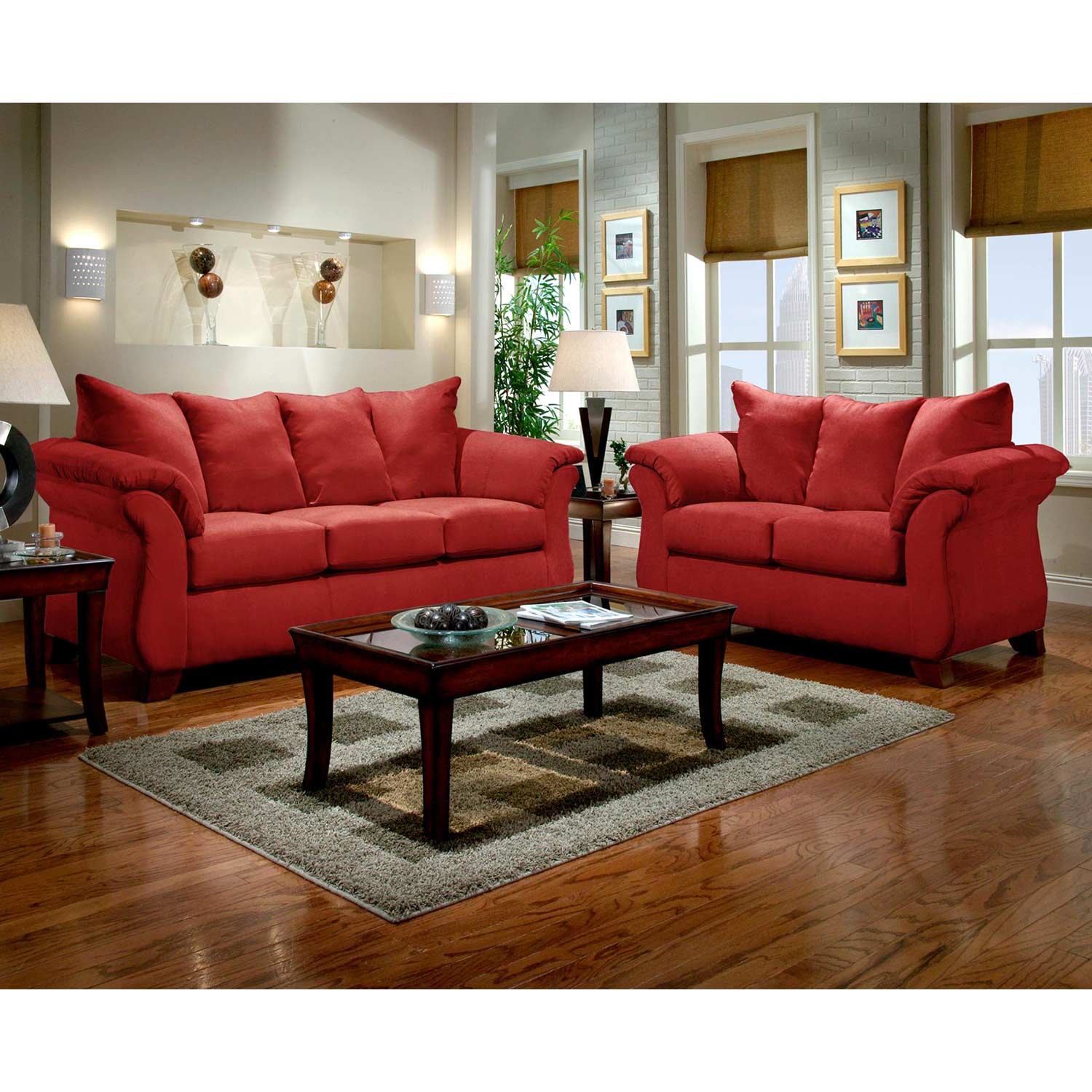Payton Pillow Back Loveseat Red Brick Microfiber Dcg