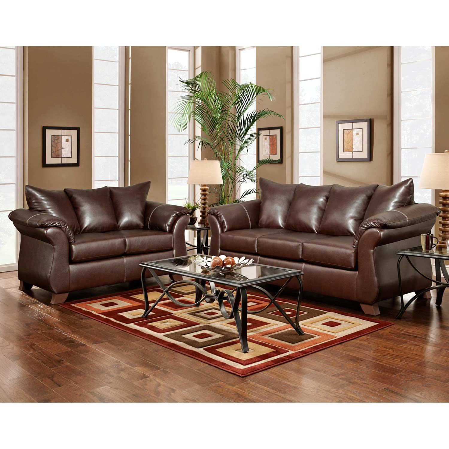Payton Pillow Back Loveseat - Taos Mahogany Leather - CHF-6702-TM