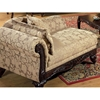 Serta Kelsey Fabric Chaise with Ornate Wood Carvings