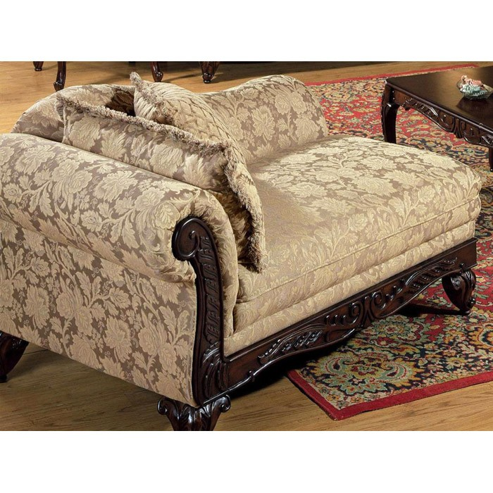 Serta Kelsey Fabric Chaise with Ornate Wood Carvings - CHF-6765011-CH-C