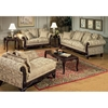 Serta Kelsey Fabric Loveseat with Ornate Wood Carvings | DCG Stores