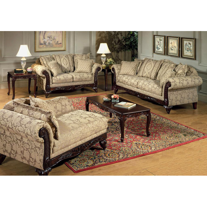 Serta Kelsey Living Room Sofa Set with Ornate Wood Carvings