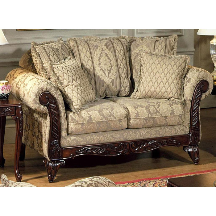 Serta Kelsey Fabric Loveseat with Ornate Wood Carvings