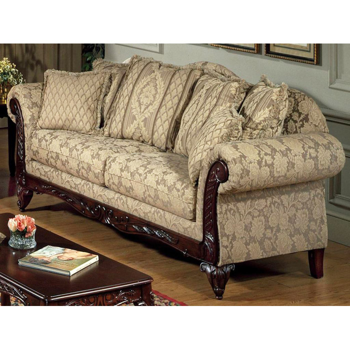 Serta Kelsey Fabric Sofa with Ornate Wood Carvings