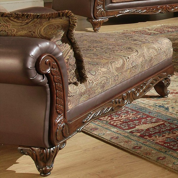 Serta ronalynn traditional chaise with carved wood trim for Carved wooden chaise