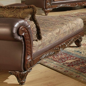 Serta Ronalynn Traditional Chaise with Carved Wood Trim