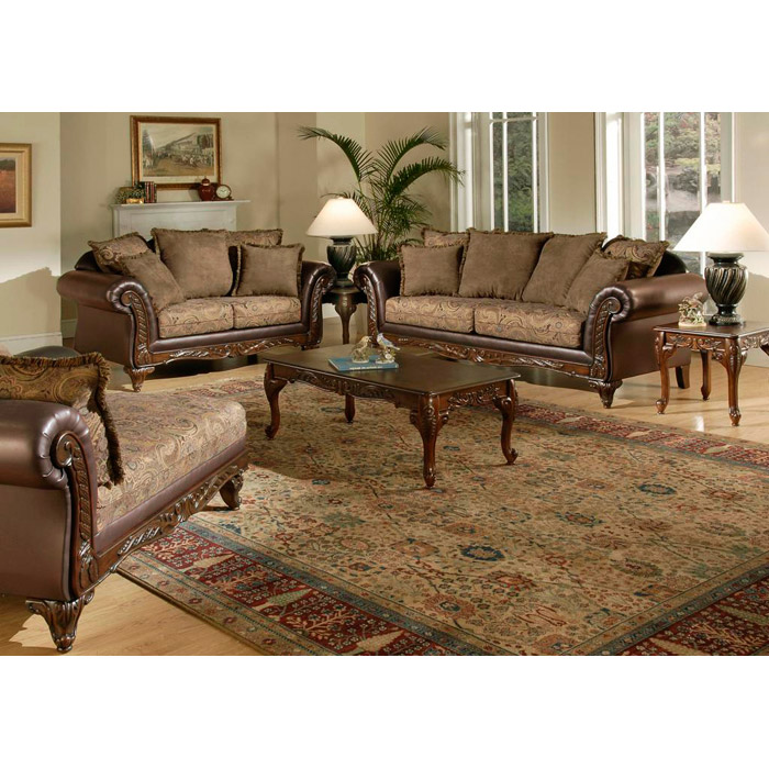 Traditional Sofas Living Room Furniture: Serta Ronalynn Traditional Living Room Sofa Set W/ Carved