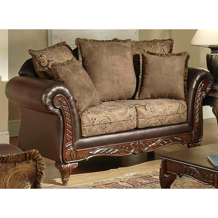 Serta Ronalynn Traditional Loveseat with Carved Wood Trim - CHF-6768511-L