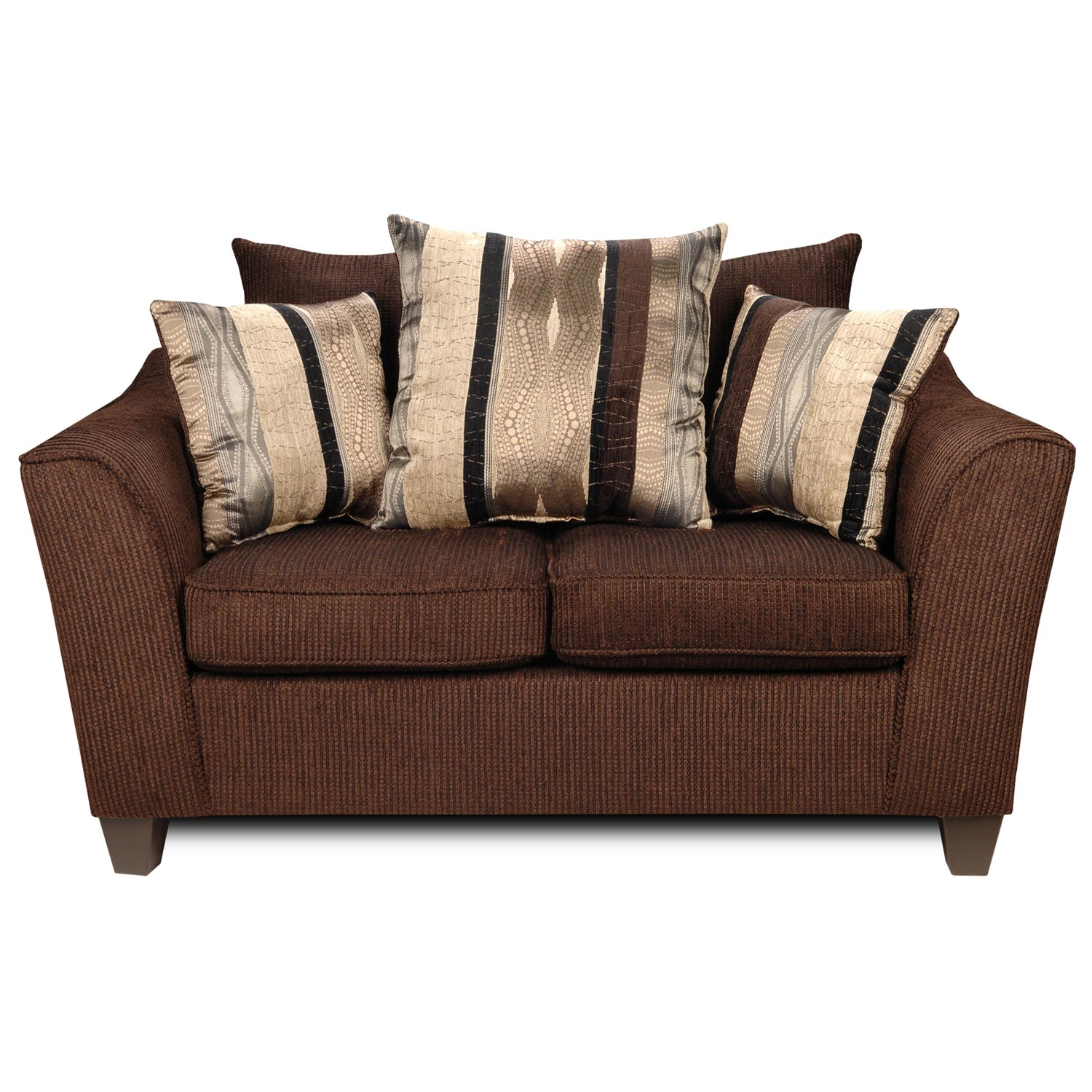 Lizzy Flared Arm Loveseat Pillow Back Romance Brown Fabric Dcg Stores