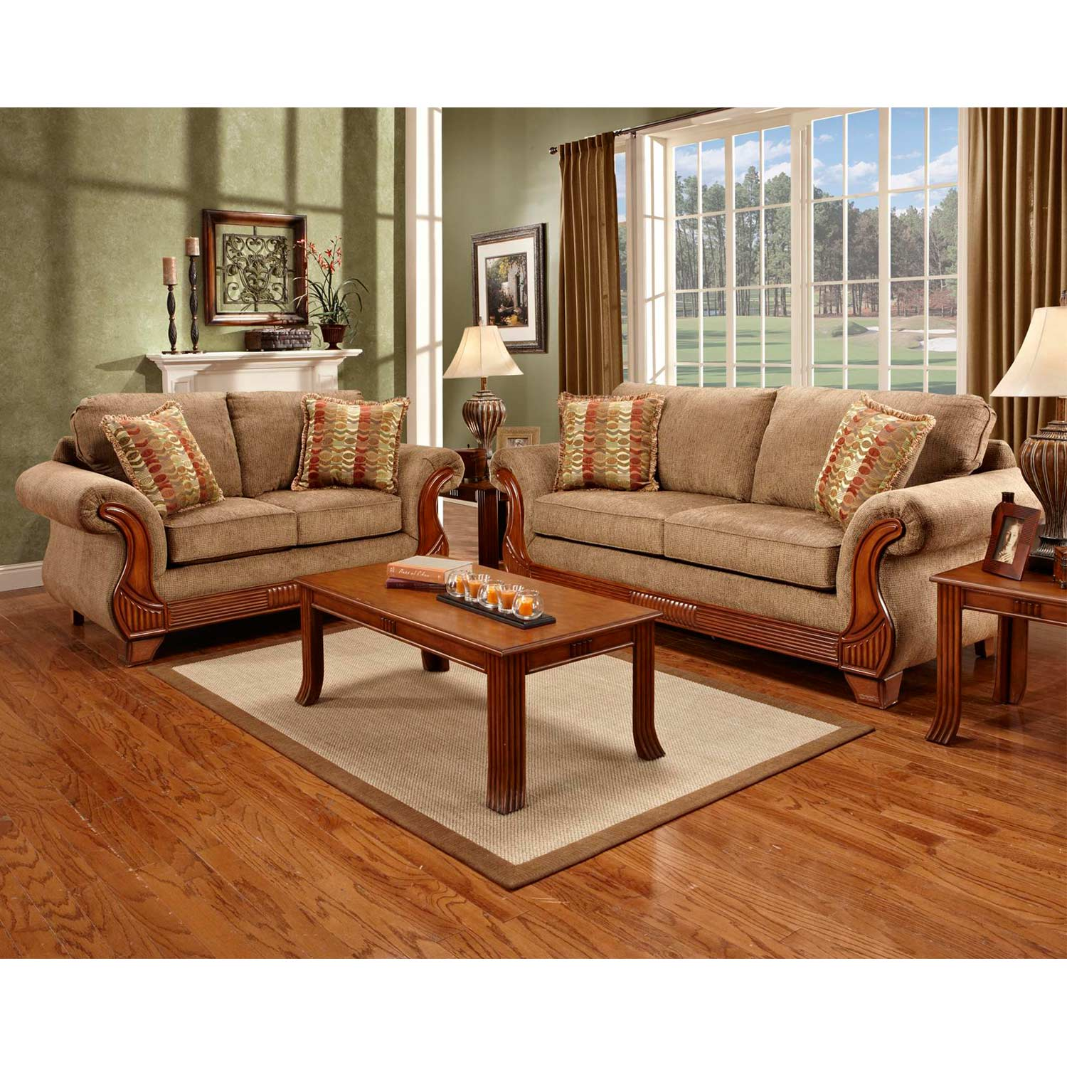Shannen Loveseat - Wood Trim, Radar Mocha Fabric - CHF-8402-RM