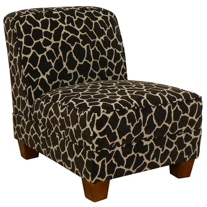 Sally Giraffe Print Armless Lounge Chair With Wooden Feet