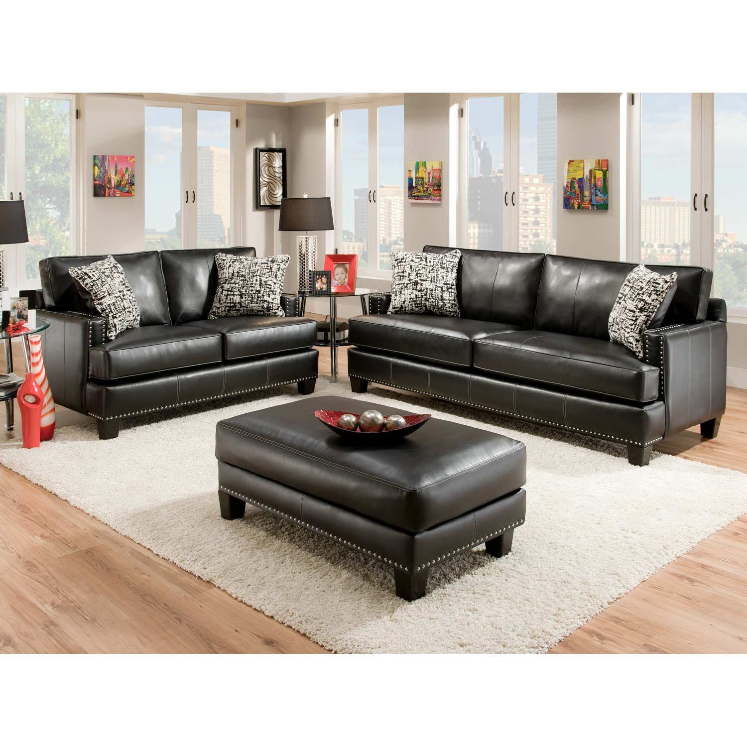 Kimberly Ottoman - Nail Heads, Apache Black Leather - CHF-8706