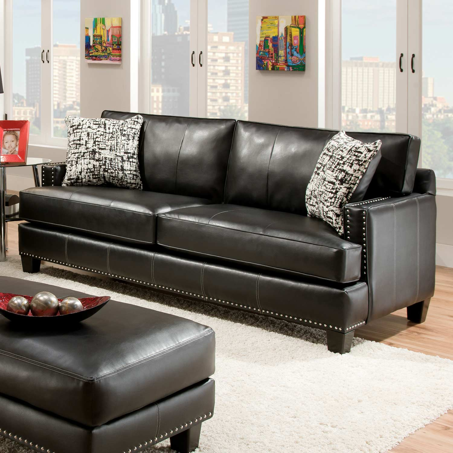 Kimberly Sofa Nail Heads Apache Black Leather Dcg Stores