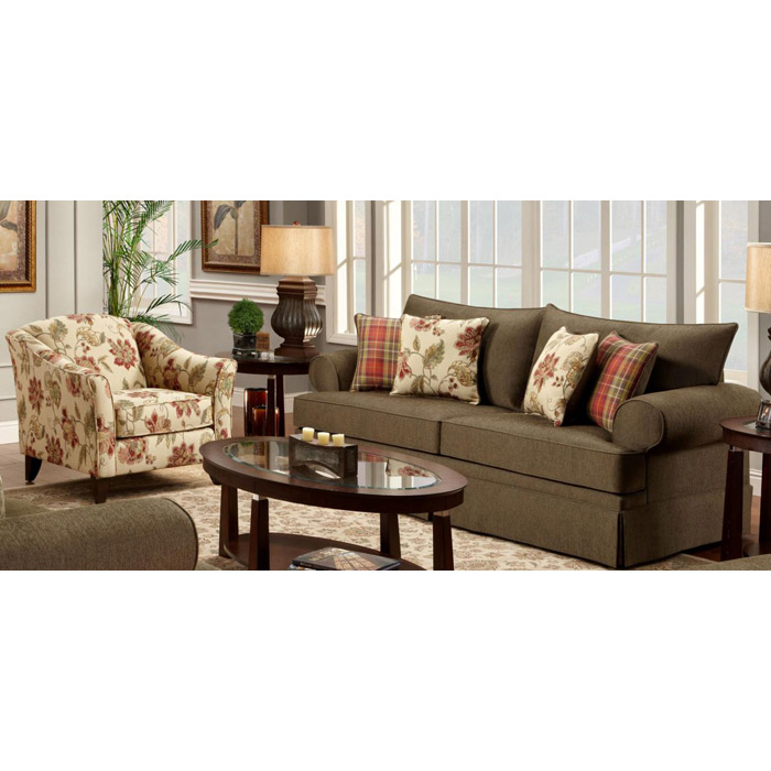 Monmouth Fabric Sofa and Floral Accent Chair Set - CHF-MONMOUTH-SET