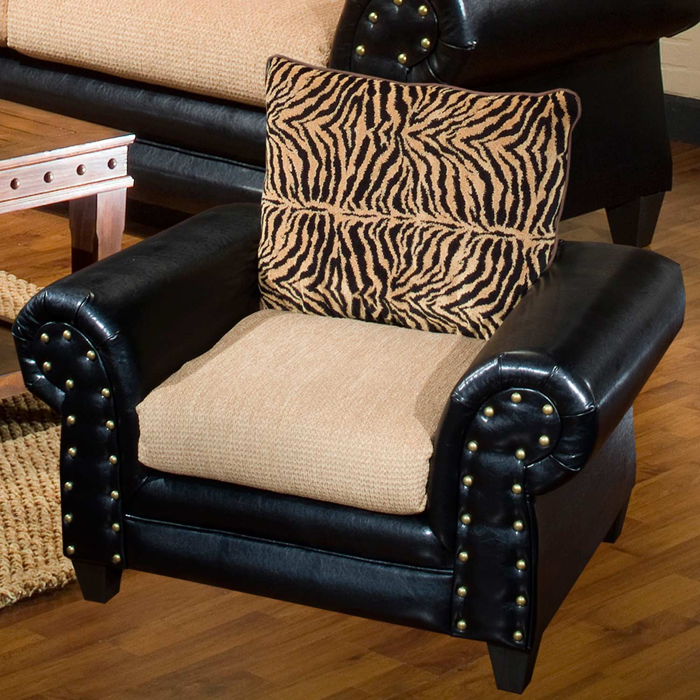 Zoie Chair - Nail Heads, Tiger Pattern Pillow