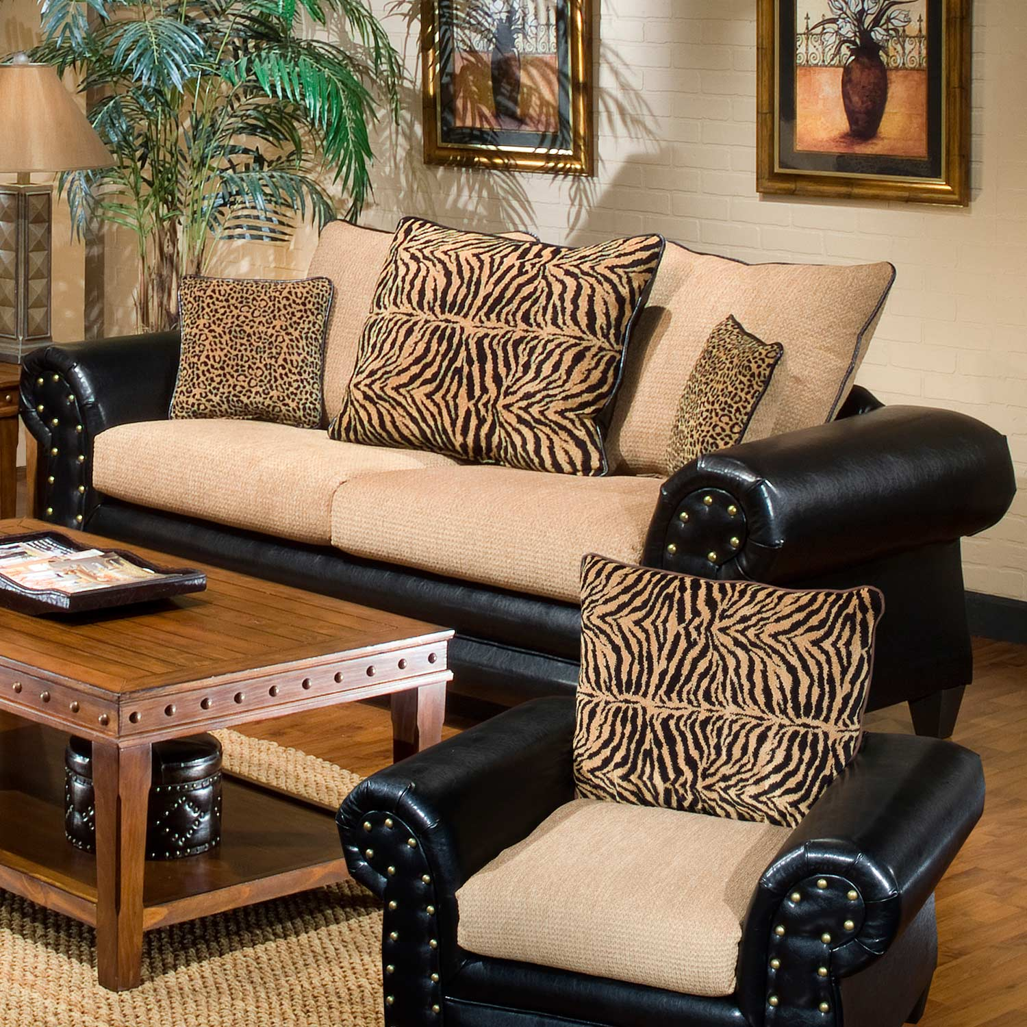Zoie Sofa - Nail Heads, Leopard & Tiger Pattern Pillows - CHF-9950-S