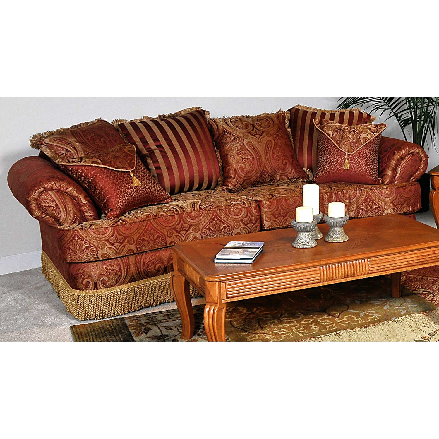 Royal Sofa - Fringed Skirt, Baring Rust Fabric - CHF-B1030-S