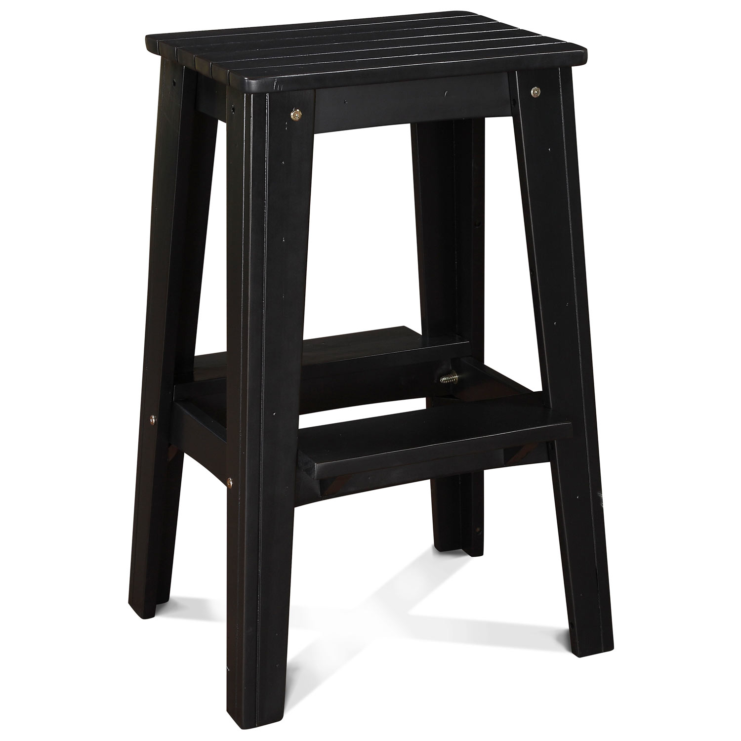 "30"" Backless Outdoor Patio Bar Stool - Rustic, Black Pearl - CHIC-CRF-1BS30-BP"