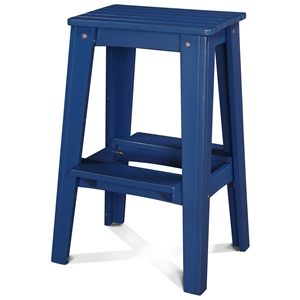 "30"" Backless Outdoor Patio Bar Stool - Rustic, Nautical Blue"
