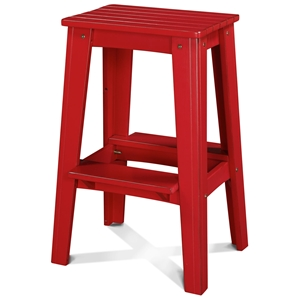 "30"" Backless Outdoor Patio Bar Stool - Rustic, Strawberry Kiss"