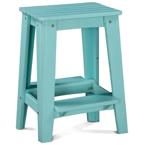 "24"" Backless Outdoor Patio Counter Stool - Rustic, Caribbean Dream Turquoise"