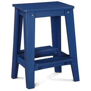 "24"" Backless Outdoor Patio Counter Stool - Rustic, Nautical Blue"