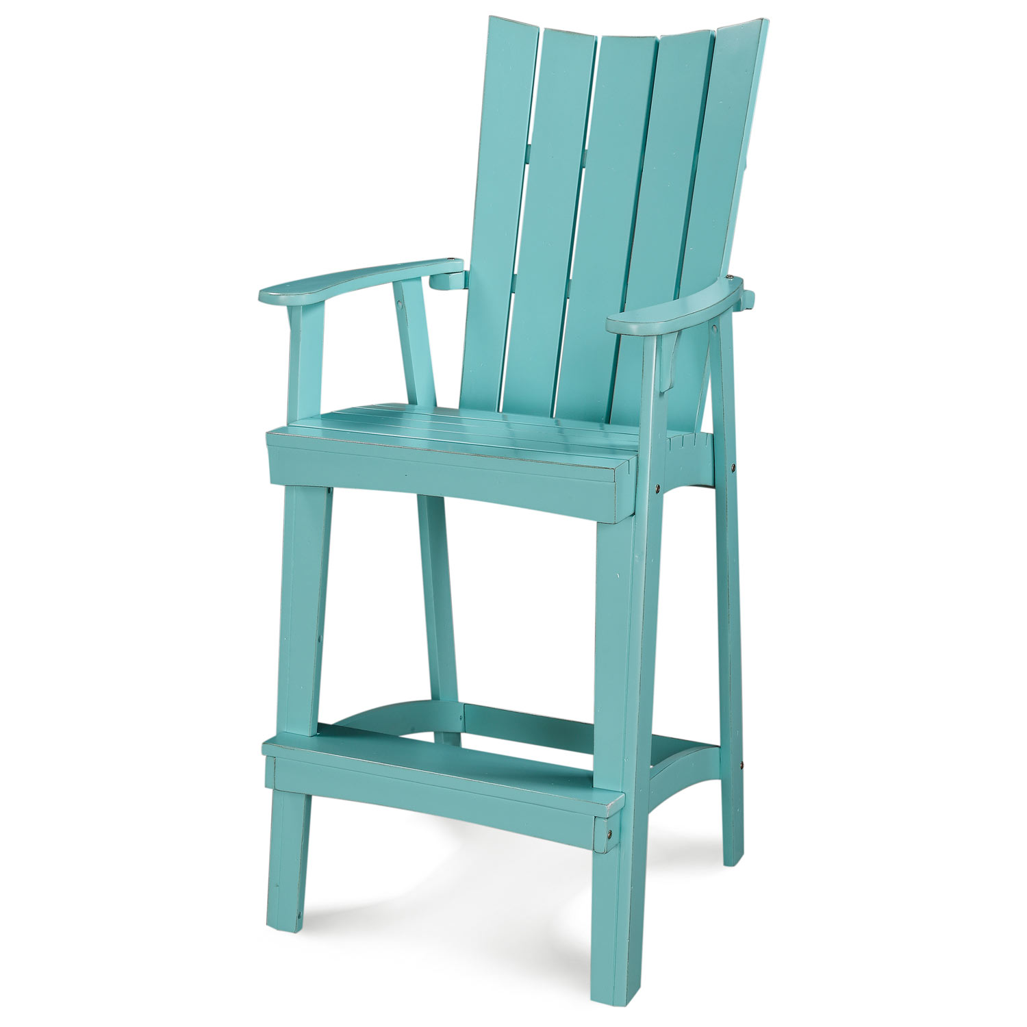 "30"" Patio Adirondack Bar Stool - Rustic, Reversed Curve Back, Caribbean Dream Turquoise - CHIC-CRF-3BS30-CD"