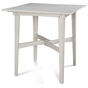 "48"" Square Outdoor Bar Height Table - Plank Top, Soft Sand Finish"