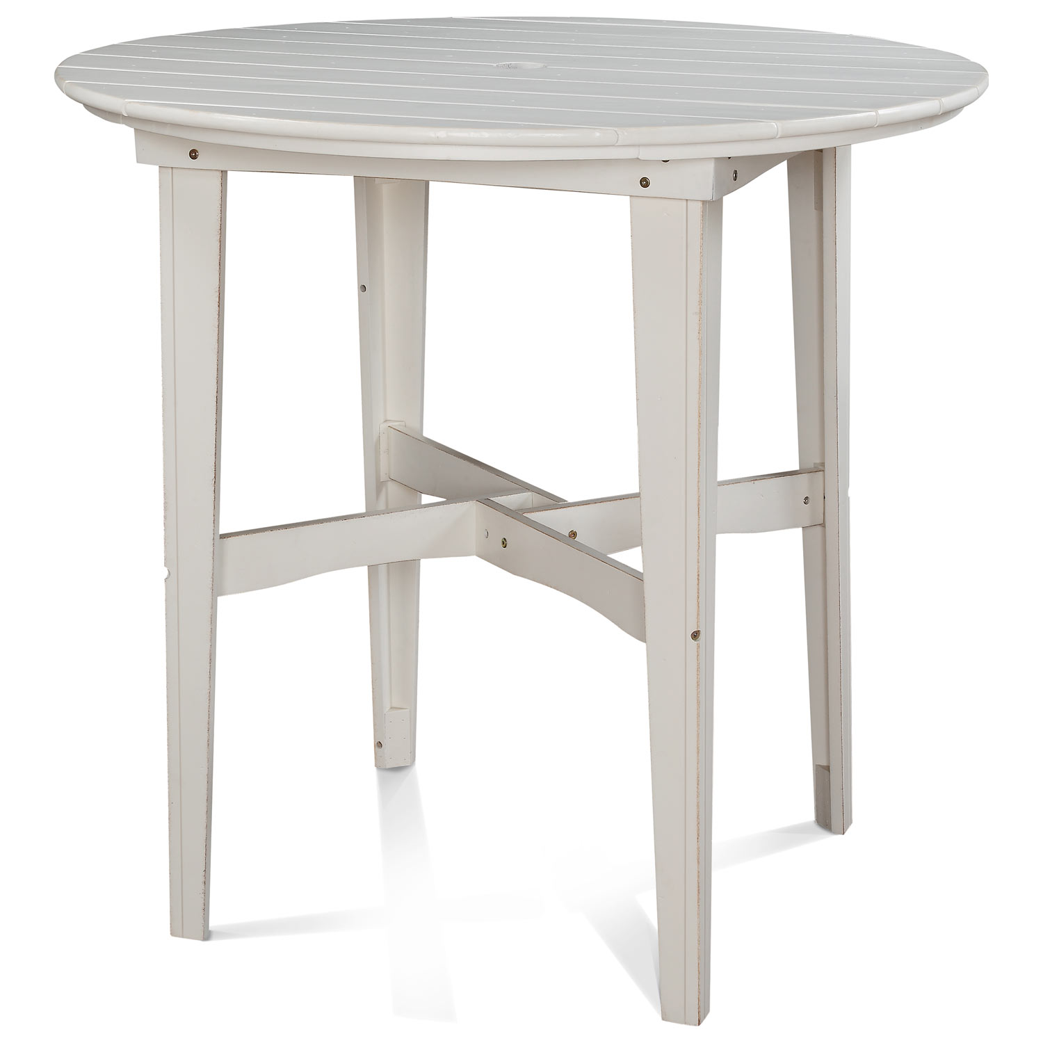 "48"" Round Outdoor Bar Height Table - Plank Top, Soft Sand Finish - CHIC-CRF-6BT48-SS"