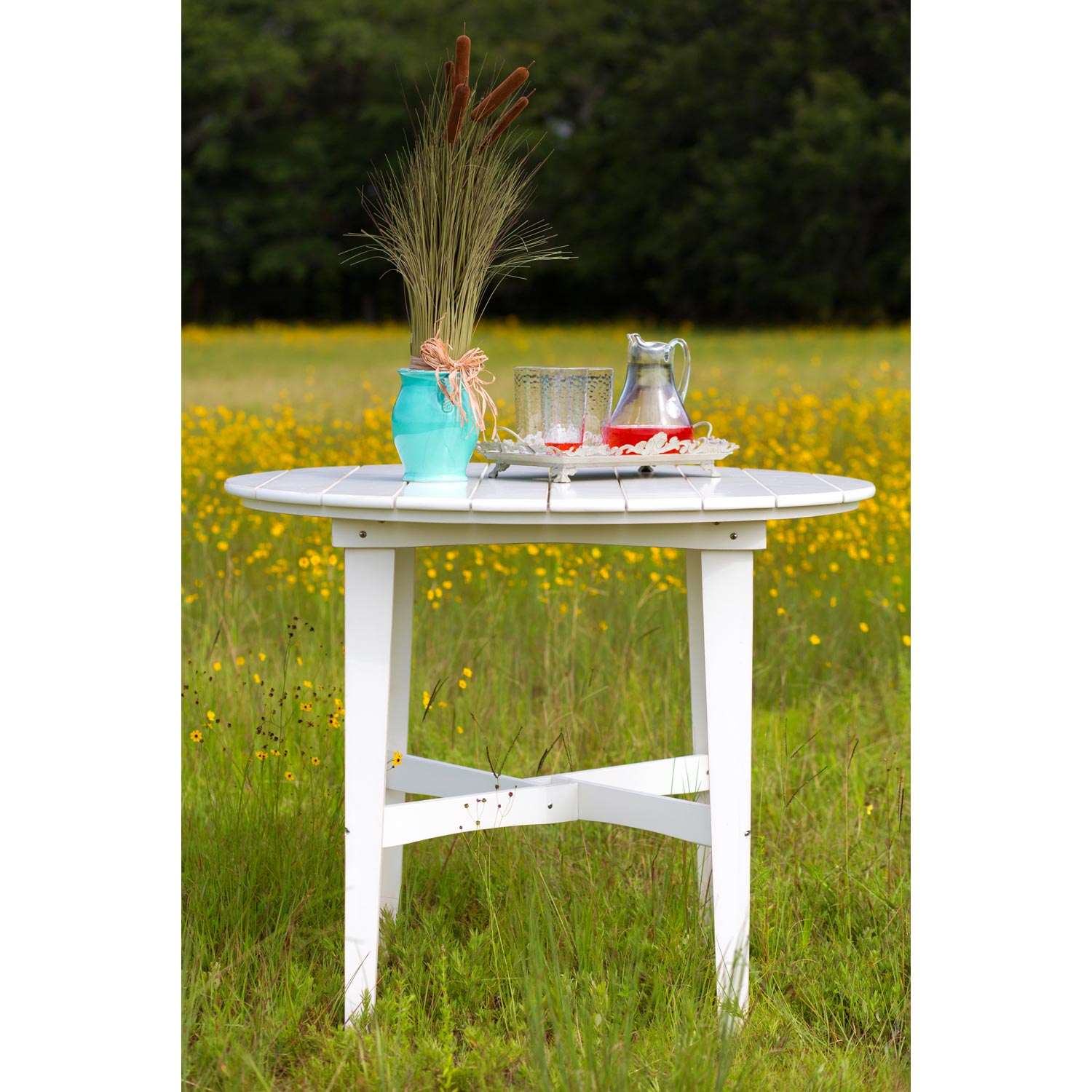 "48"" Round Outdoor Counter Height Table - Plank Top, Soft Sand Finish - CHIC-CRF-6CT48-SS"