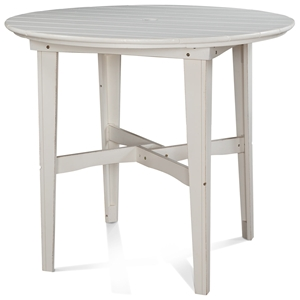 "48"" Round Outdoor Counter Height Table - Plank Top, Soft Sand Finish"