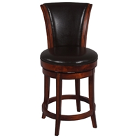 Cinna 26%27%27 Swivel Counter Stool - Wenge, Dark Brown Leather