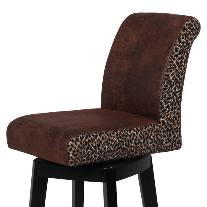 Cyris 30 Swivel Bar Stool Black Finish Leopard Print