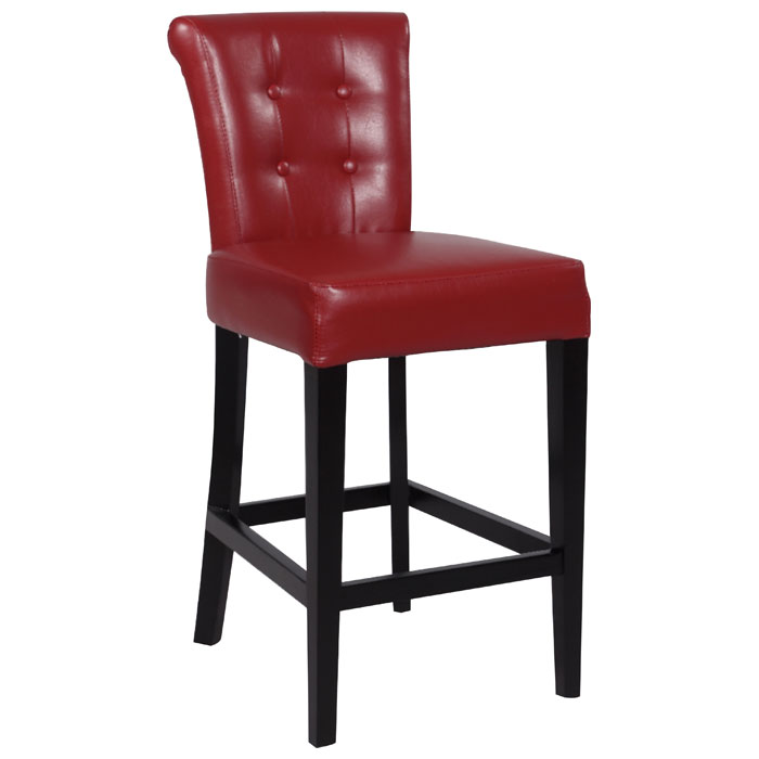 Galatea 30 Wood Bar Stool Red Leather Button Tufted
