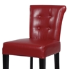 Galatea 26'' Wood Counter Stool - Red Leather, Button Tufted - CI-0295-CS