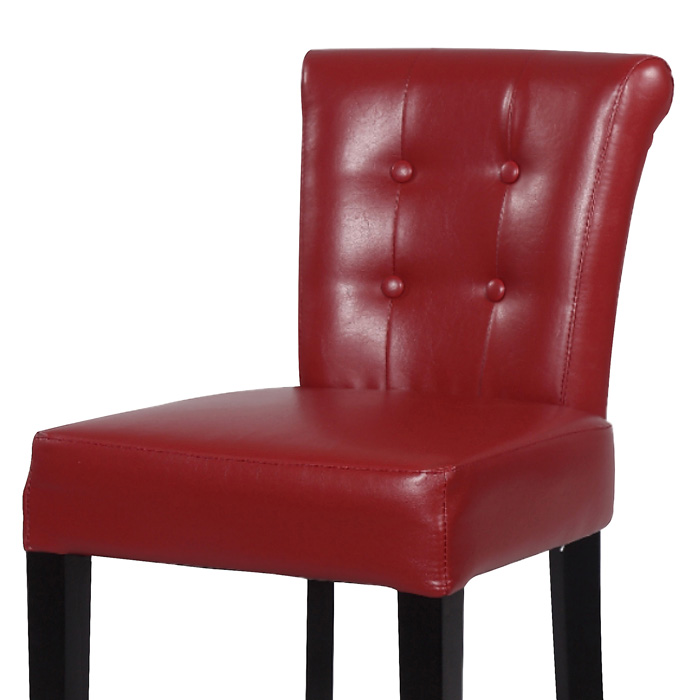 Galatea 26 Wood Counter Stool Red Leather Button