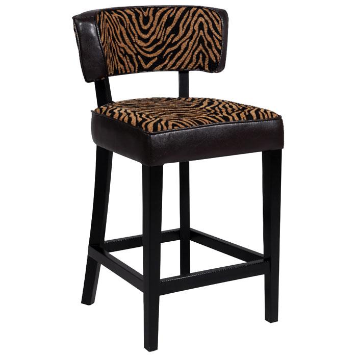 Liodes 30 Wood Bar Stool Black Two Tone Animal Print