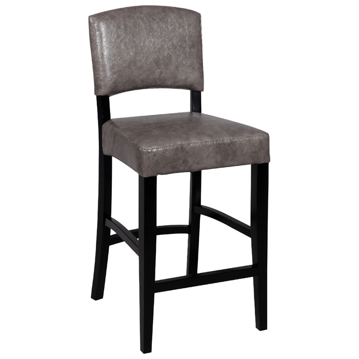 Manix 30 Modern Bar Stool Gray Leather Black Dcg Stores