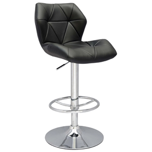 Midas Swivel Stool - Adjustable Height, Black, Chrome