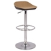 Backless Bar Stool - Adjustable, Camel Seat, Black and Chrome - CI-0324-AS-CML