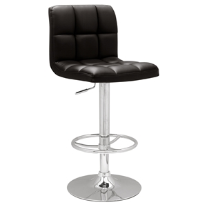 Adjustable Height Bar Stool - Black, Chrome, Swivel