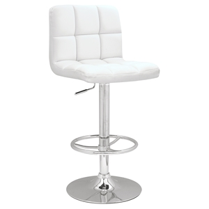 Adjustable Height Bar Stool - White, Chrome, Swivel